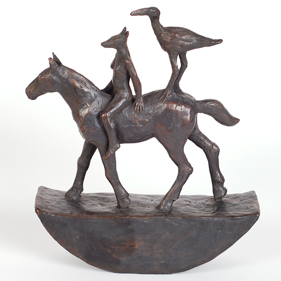 'Horse with Riders' - bronze - 21 x 17 x 5 cms
